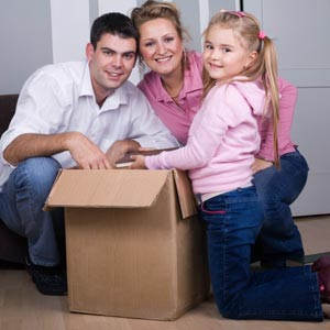family with boxes